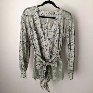 Free People Floral Lace Long Sleeve w/ Tie, Medium